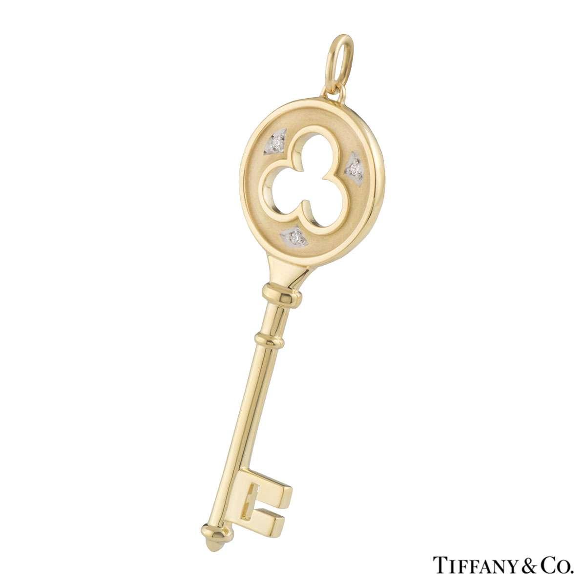 0a3c033c9 Tiffany Co Yellow Gold Diamond Clover Key Pendant. Tiffany Co Key Pendant